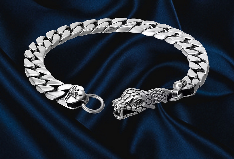 Sterling Silver Snake Cuban Chain