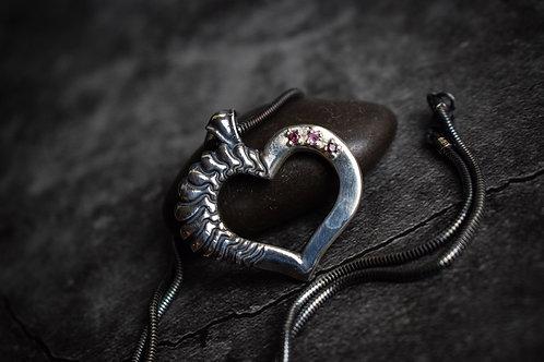 Garnet and Sapphire Sterling Silver Heart Pendant