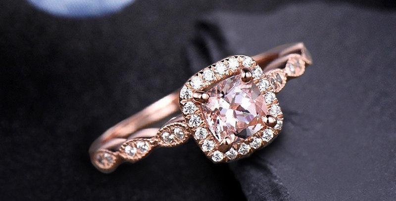 Princess Morganite 14kt Rose Gold Engagement Ring
