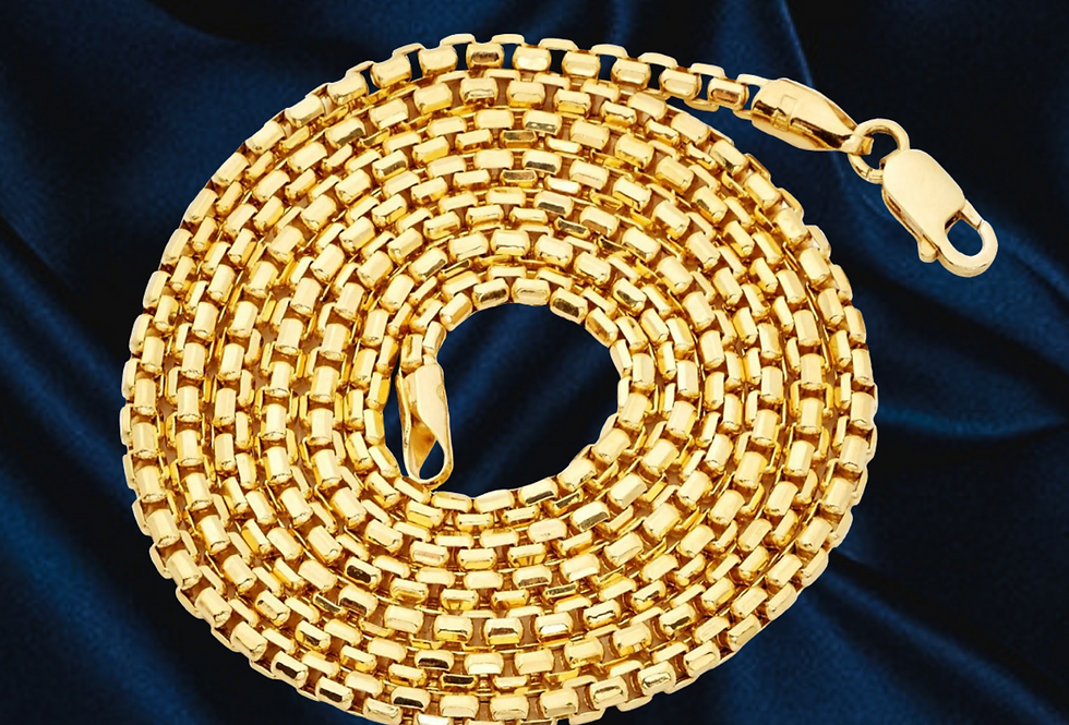 Round Box 3.4mm Chain in 14kt Yellow Gold