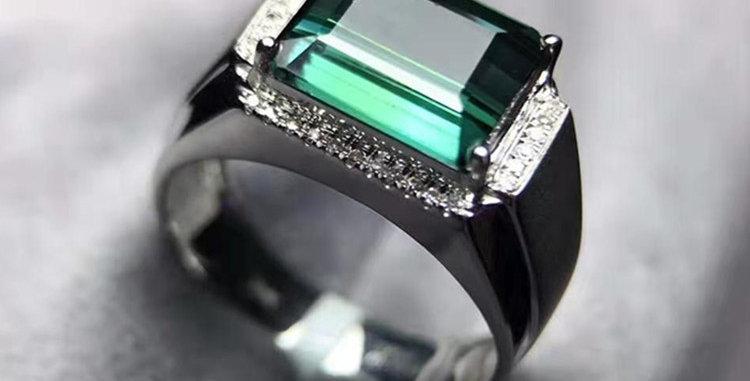 Mens Tourmaline Sleek 18kt White Gold Ring