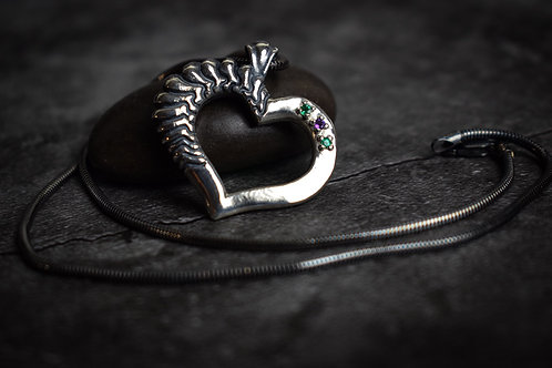 Emerald and Amethyst Sterling Silver Heart Pendant