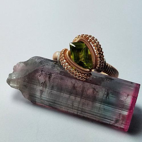 Size 8.5 Rose Gold Peridot Ring