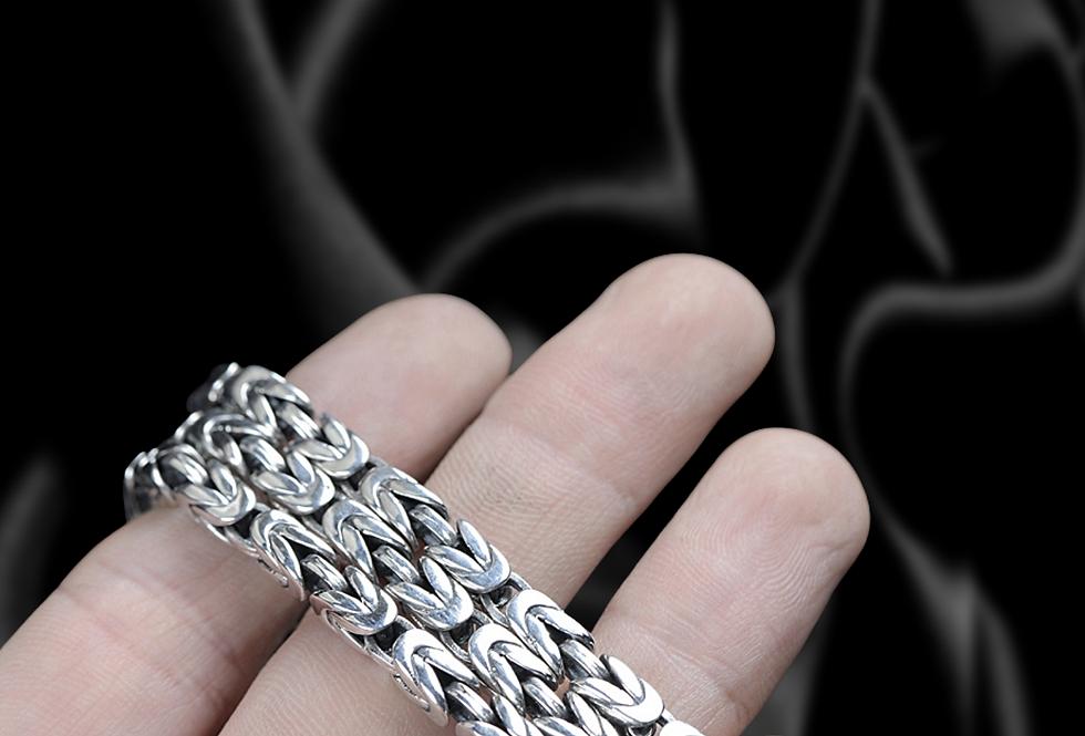 Geometric Sterling Silver Byzantine Chain