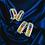 Thumbnail: Sapphire and Diamond 14kt White Gold Hoop Earrings
