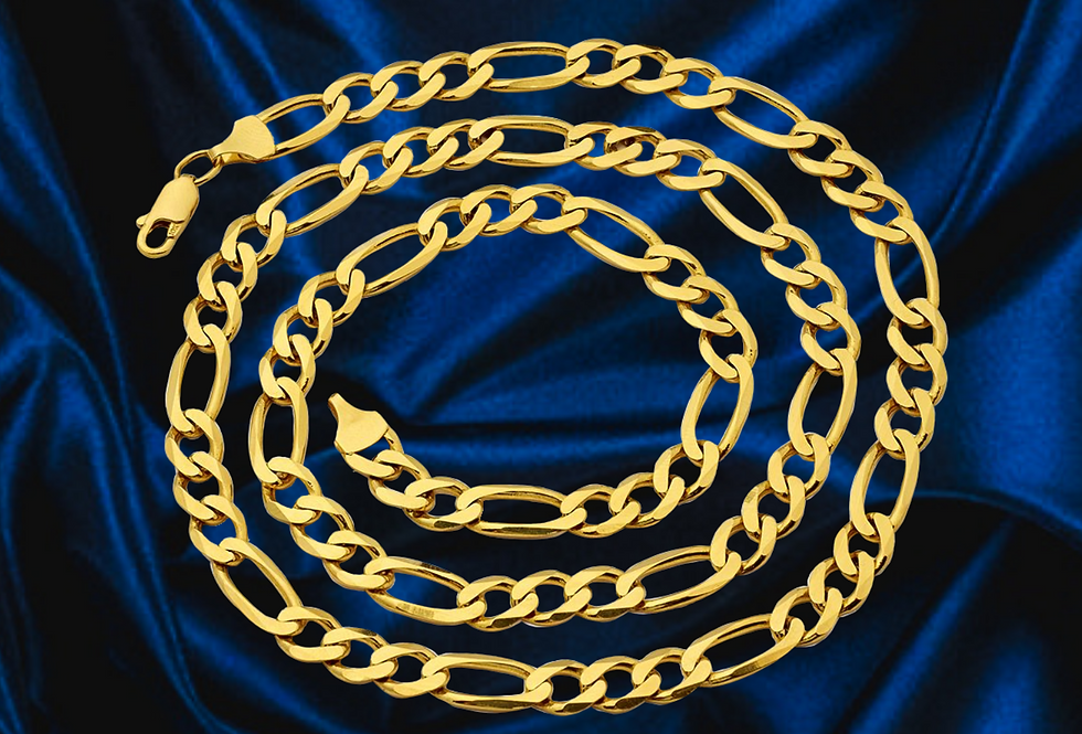 Solid Figaro 6mm Chain in 14kt Yellow Gold