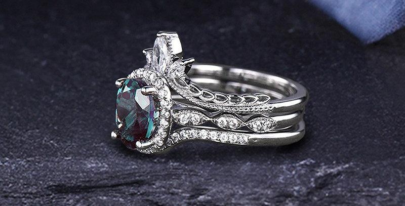 Stacked Alexandrite Engagement Set 14kt White Rings