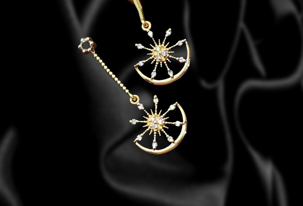 Alchemist sun and moon 18kt gold diamond dangle earrings