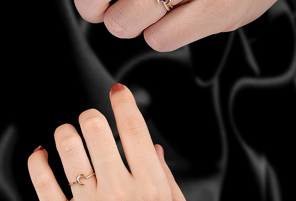 Star and Moon Stackable Ring 18kt gold