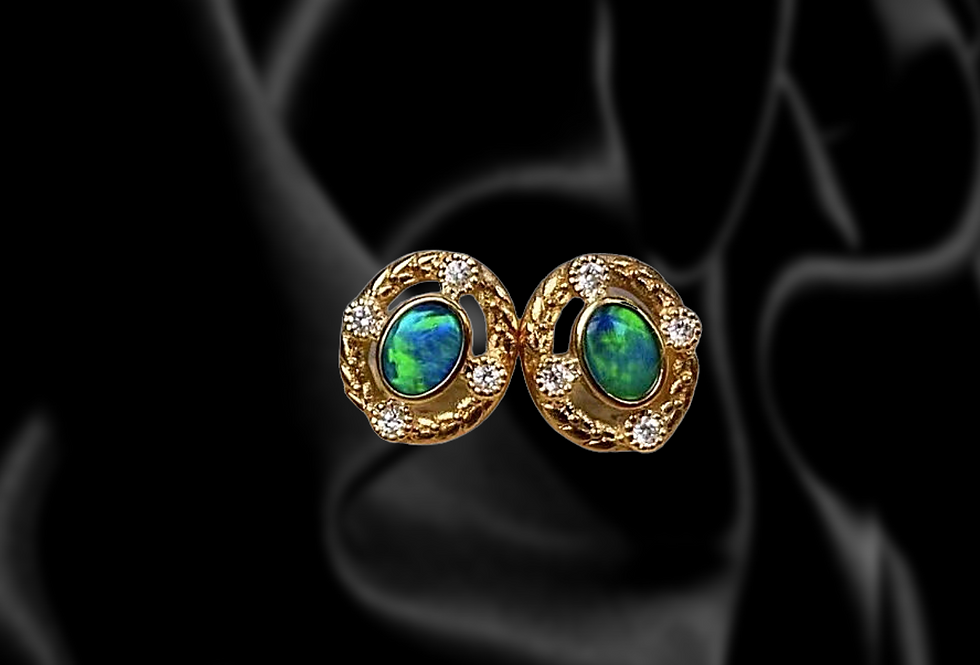 Vintage Opal and Diamond Earrings in 14kt Yellow Gold