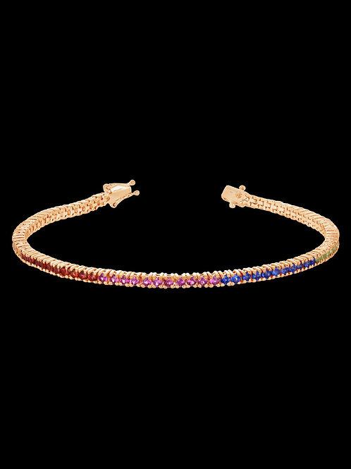 Rainbow sapphire 14kt gold bracelet