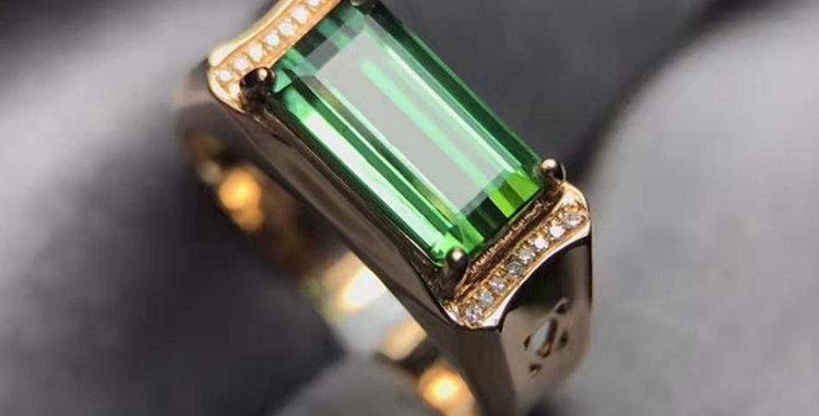 Mens Tourmaline Sleek 18kt Yellow Gold Ring