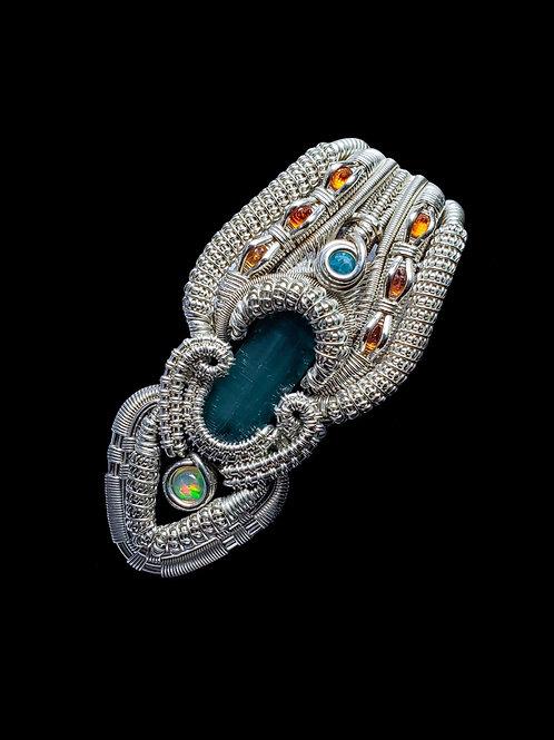 Blue Tourmaline Sterling Silver Opal Pendant
