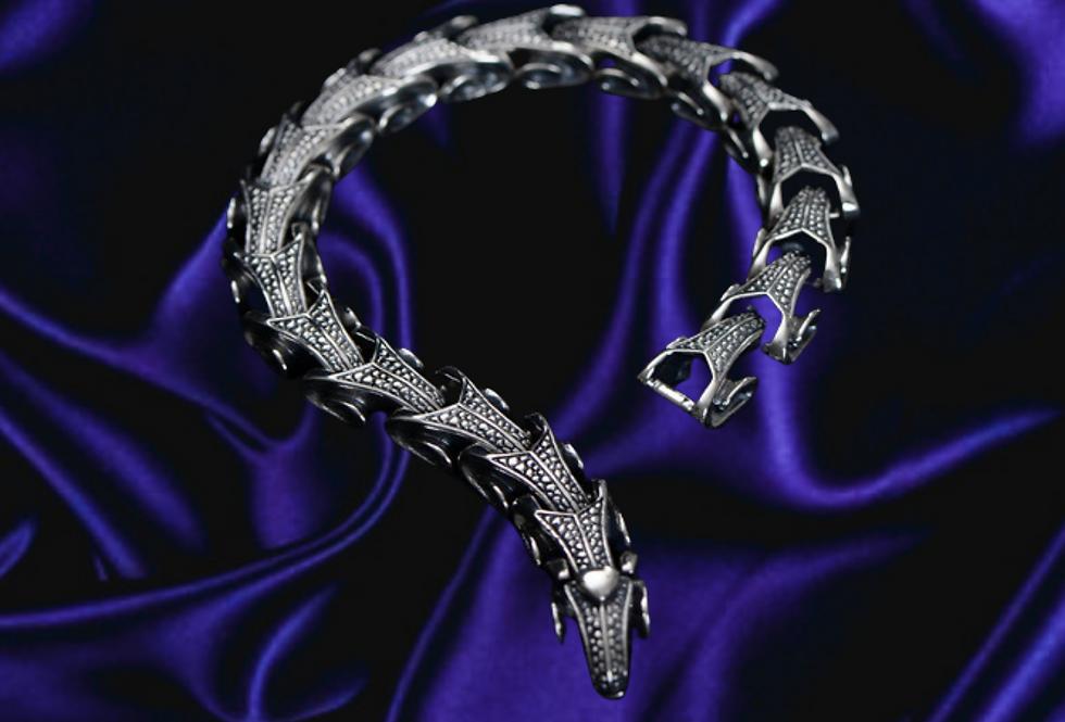 Textured Biomechanical Sterling Silver Bracelet