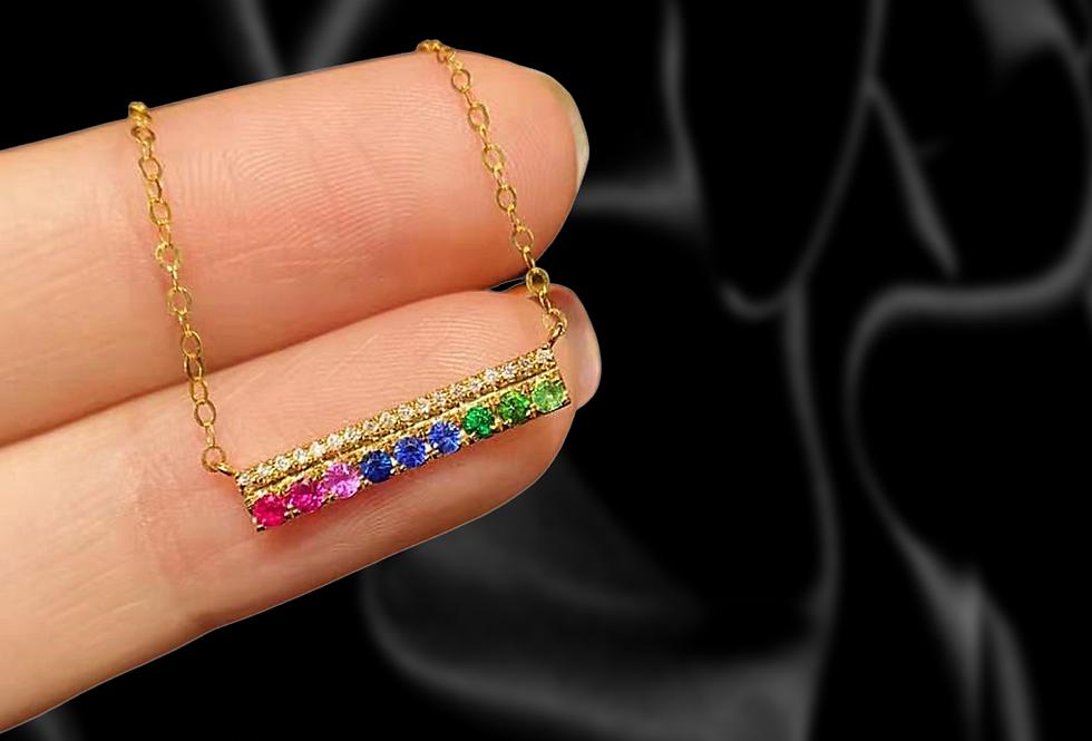 Mini Sapphire and Diamond Bar Necklace