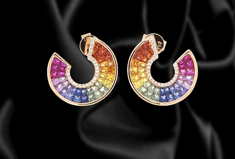 18kt gold rainbow sapphire diamond half circle earrings