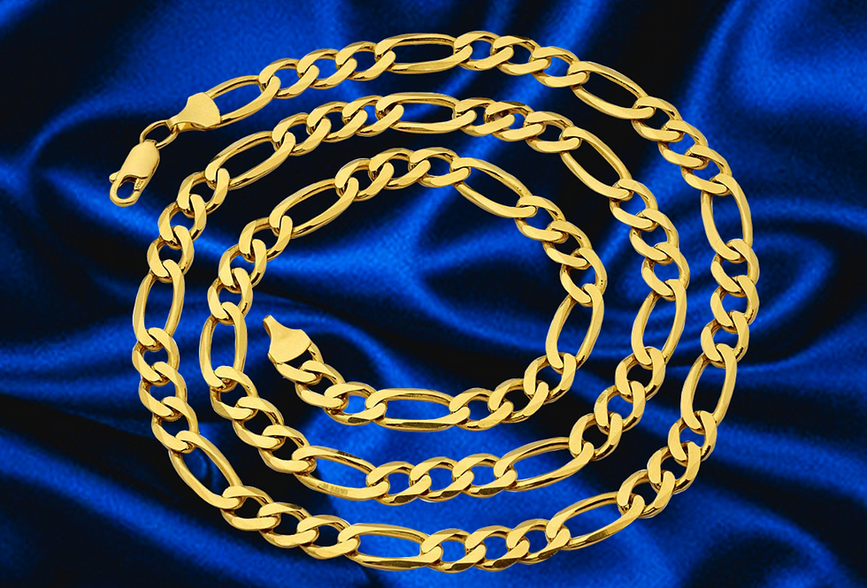 Solid Figaro 7mm Chain in 14kt Yellow Gold