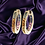 Thumbnail: Rainbow Sapphire Hoop Earrings in Solid 14kt Gold