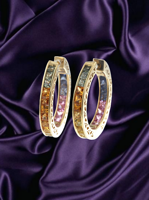 Rainbow Sapphire Hoop Earrings in Solid 14kt Gold