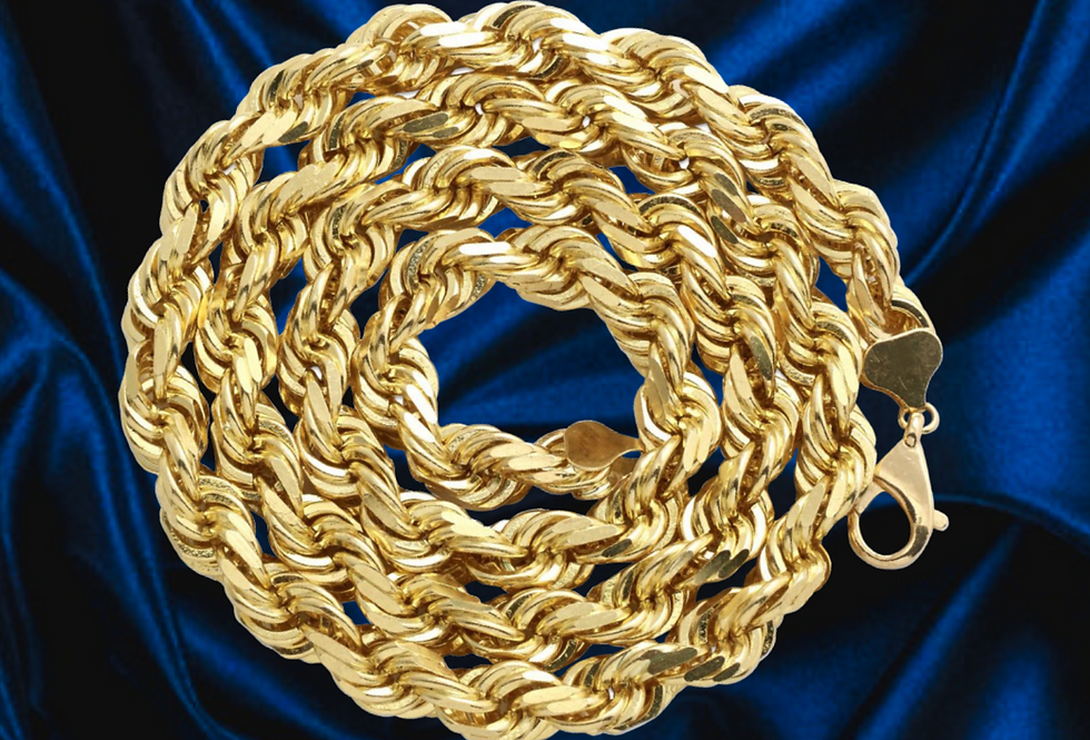 Solid Rope 2.5mm Chain in 14kt Yellow Gold