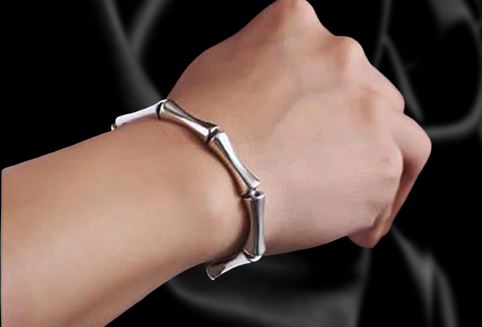 Bamboo Inspired Natural Sterling Silver Cuff Bracelet