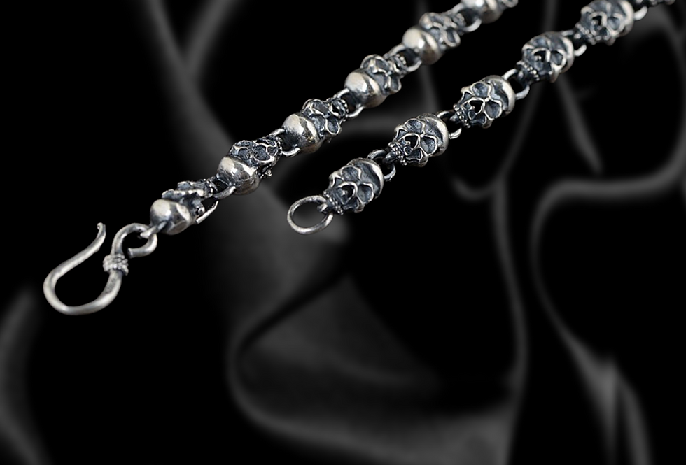 Skull link Sterling Silver Chain