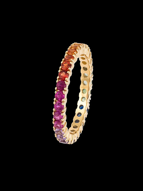 Rainbow Sapphire Eternity Ring in 14kt Gold