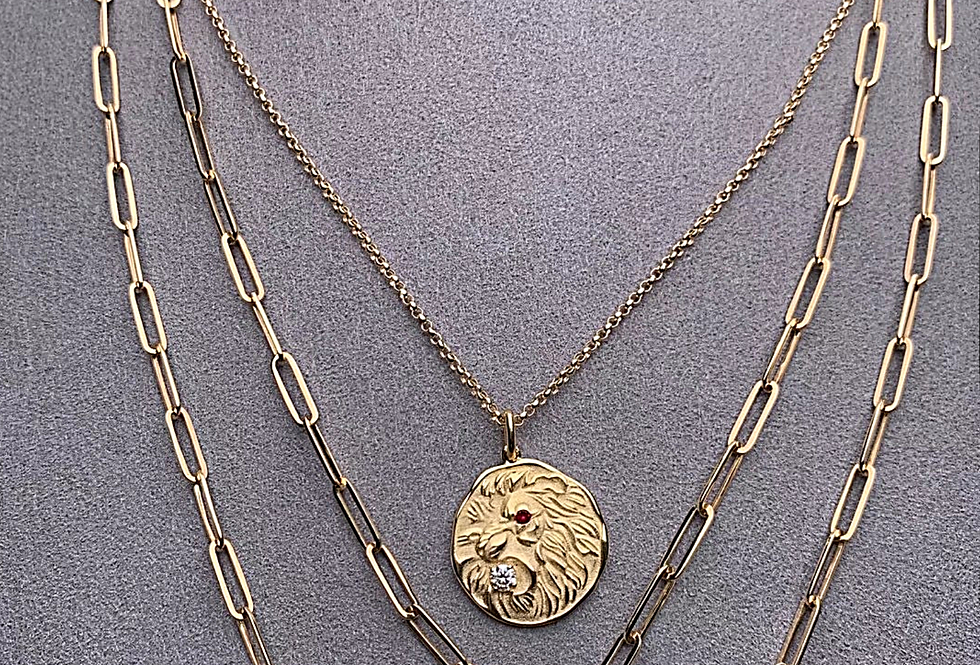 Large Antique Coin Lion Diamond and Ruby 14kt Gold Pendant
