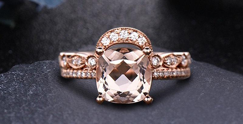 Sunrise Morganite Engagement Set Stackable Rings in 14kt Rose Gold