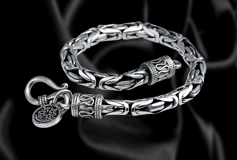 sterling silver chain link bracelet with charm