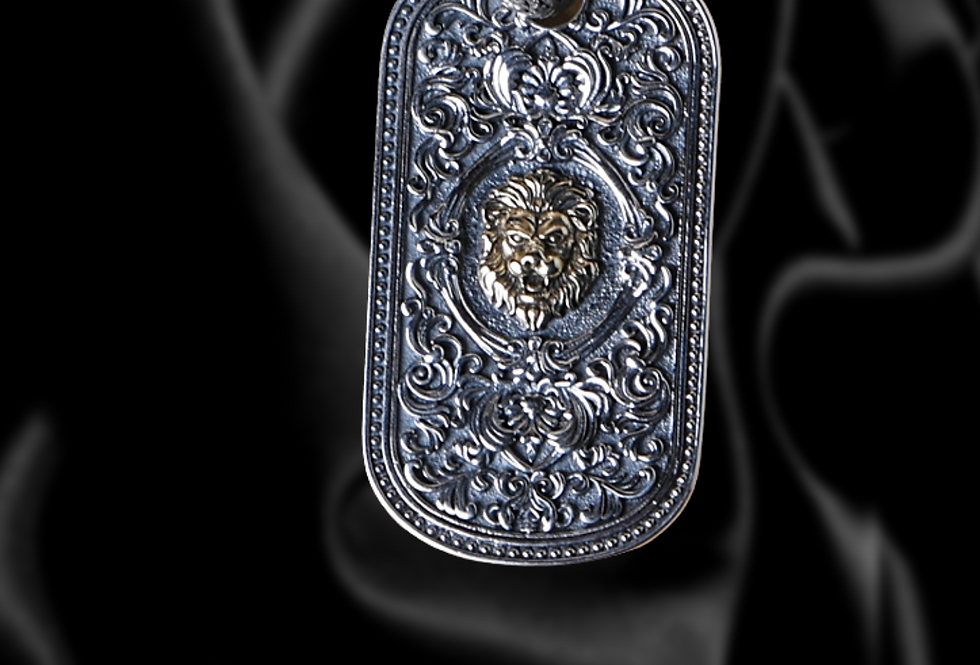 POWER- Art Deco Lion Dog tag in Sterling Silver
