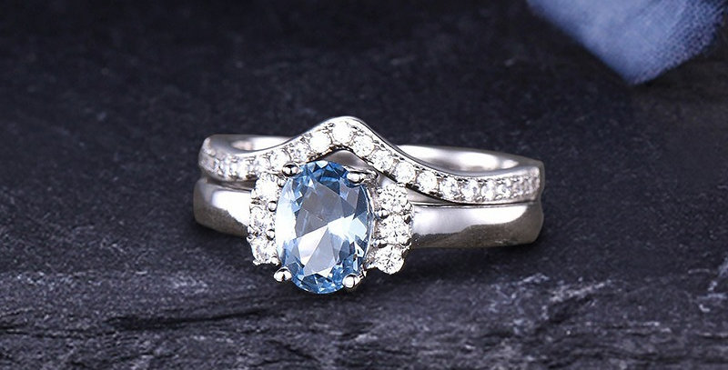 Blue Topaz 14kt White Gold Stackable