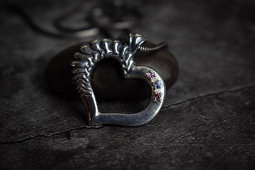 Sapphire and Tanzanite Sterling Silver Heart Pendant