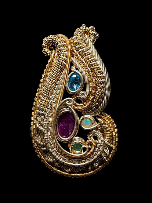 Purple Sapphire Sterling Silver and Yellow Gold Pendant