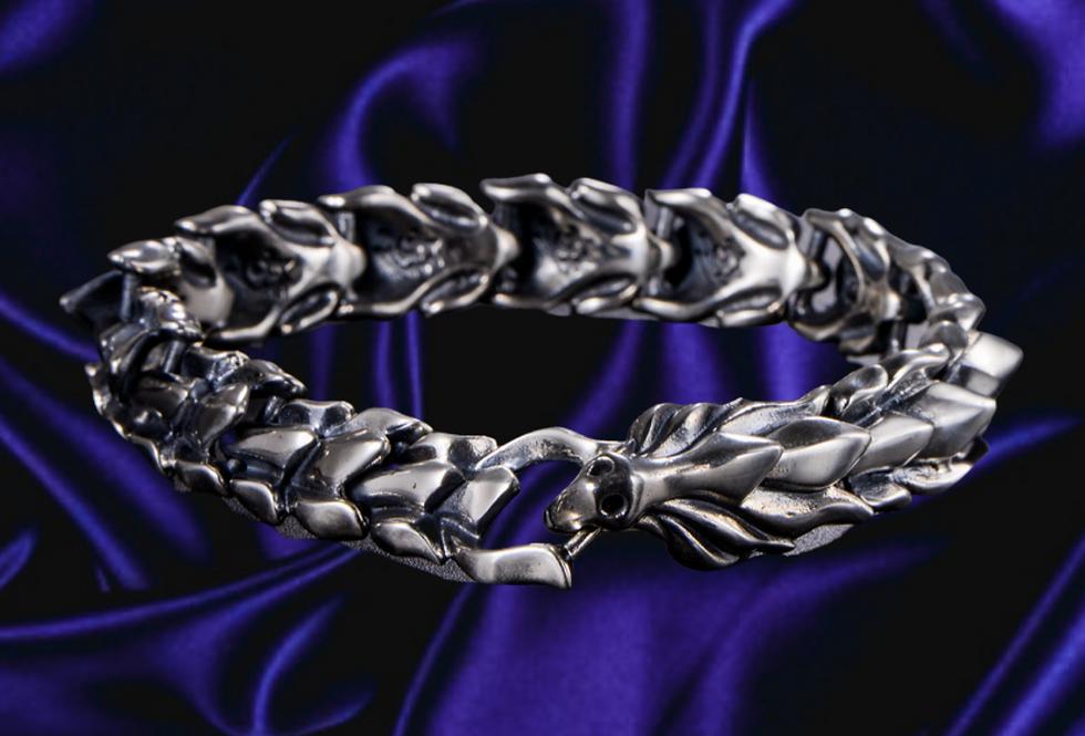 Dragon Biomechanical Scale Sterling Silver Bracelet