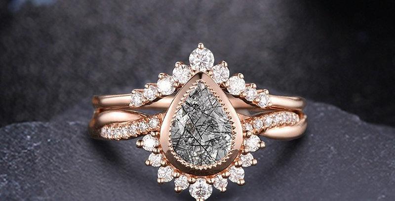 Black Quartz Teardrop Stackable Engagement Ring set in 14kt Gold