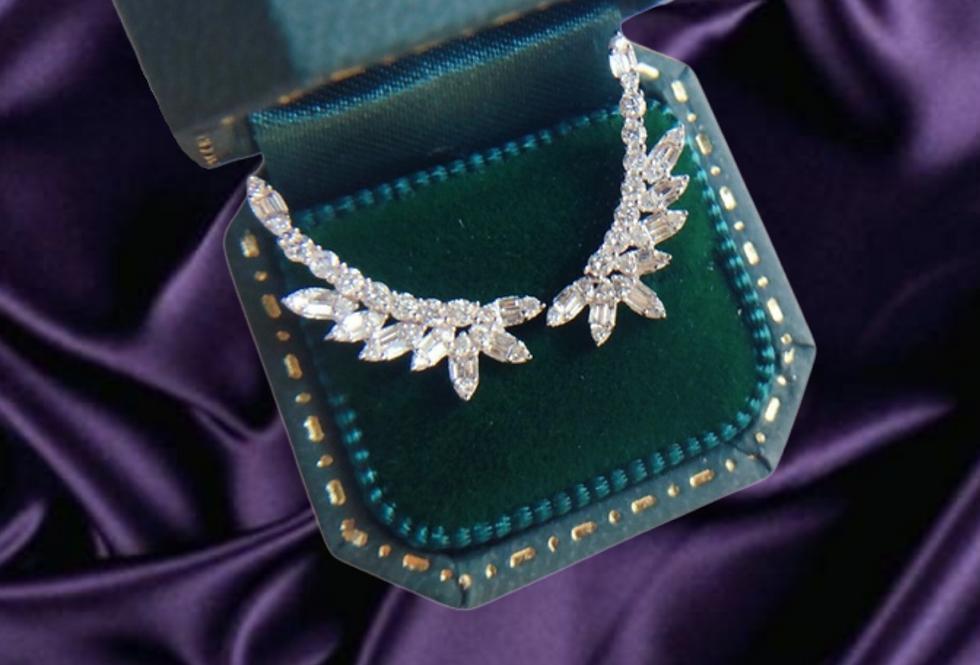 wing shape diamond stud earrings white gold