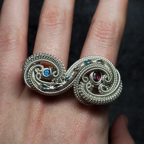 Double Finger Ring, Neon Blue Apatite and Rhodolite Garnet