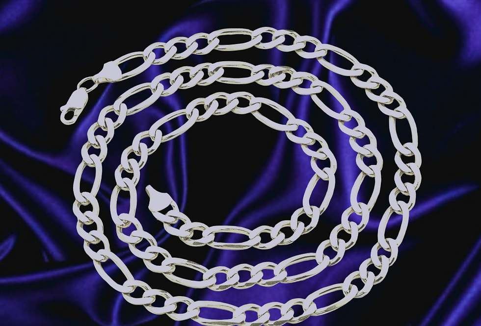 Solid Figaro 3.8mm Chain in 14kt White, Gold