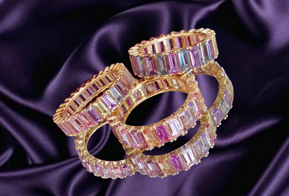Pastel Sapphire Eternity Bands in 18kt Gold