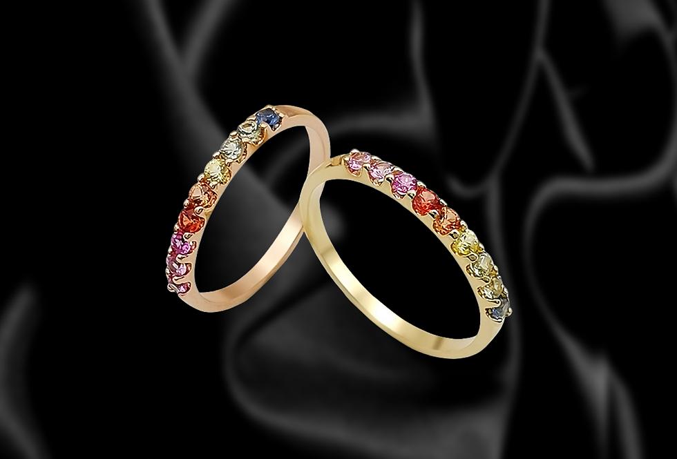 Rainbow Sapphire Half Eternity Rings 14kt Gold