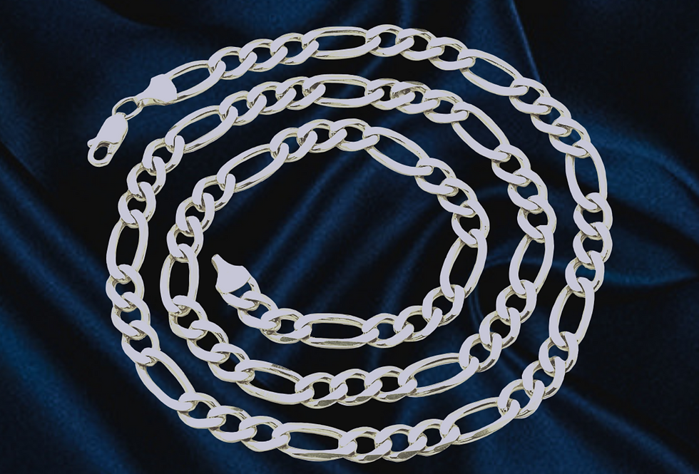 Solid Figaro 6mm Chain in 14kt White Gold