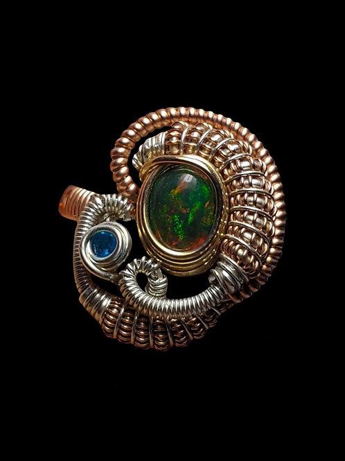 Rose Gold Black Opal Ring