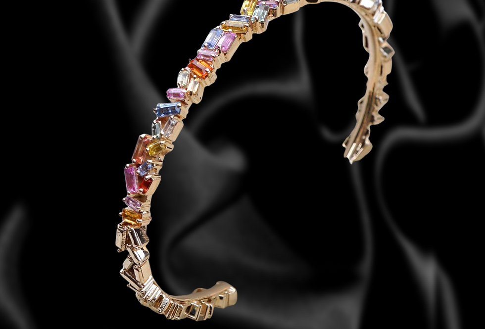 14kt gold Baguette Multicolored Sapphire Bangle