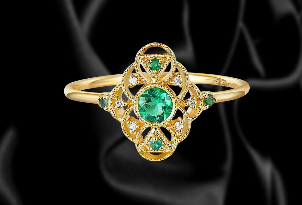 Fine Cut Emerald 18kt Yellow Gold Ring Art Deco