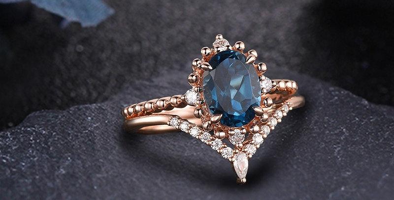 London Blue Topaz Stackable Engagement Set