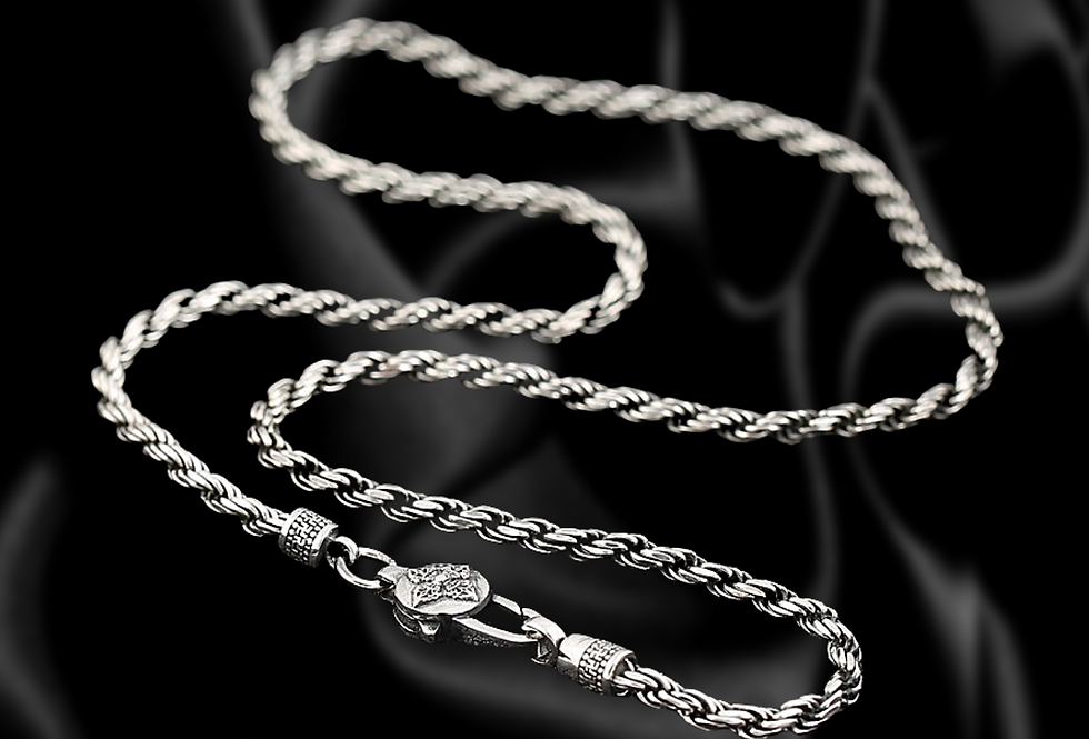 Rounded Rope Sterling Silver Chain with Lotus Clasp