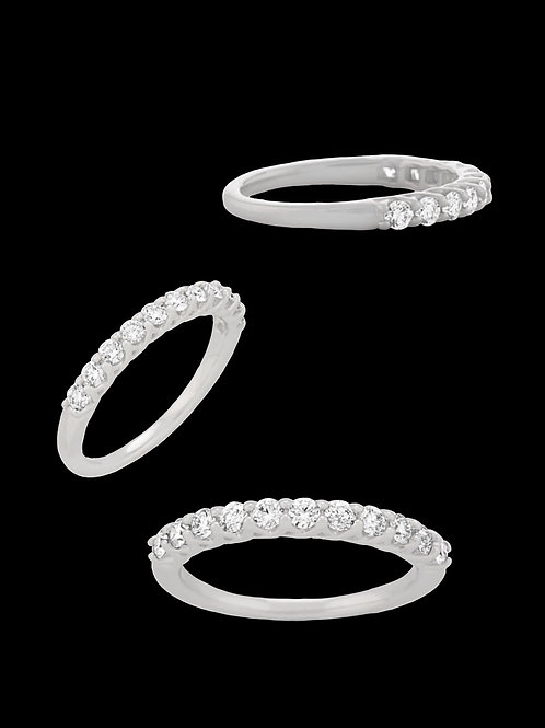 2 Double Stack Diamond White Gold Rings