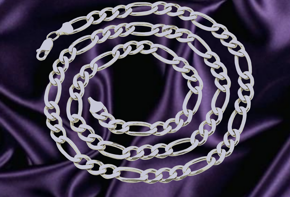 Solid Figaro 4.6mm Chain in 14kt White Gold