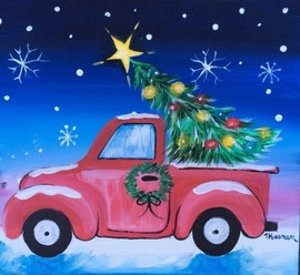 truck and christmas tree